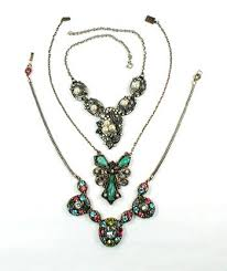 antique jewelry necklace images Three vintage bib necklaces costume jewelry jpg