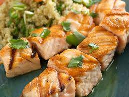 salmon kebobs with quinoa and grapefruit salad recipe food