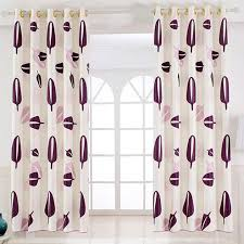 Patterned Window Curtains Purple Patterned Print Polyester Insulated Short Bay Window Curtains