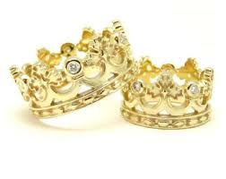Crown Wedding Rings by Unique Wedding Band Etsy