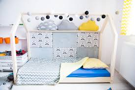 wooden bed house scandinavian design for kids with mattress base