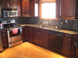 kitchen stone backsplash ideas with dark cabinets wainscoting