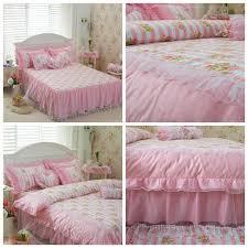 purple and white lace korean princess style bedding sets bohemian