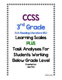 common core ela reading literature learning scales 3rd grade by