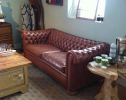 Tufted Brown Leather Sofa Sofas Loveseats Etsy