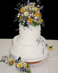 two tier wedding cake with basketweave and flowers flickr