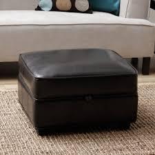 furniture round cream leather storage ottoman for minimalist