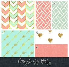 coral mint and gold bedding custom crib bedding by gigglesixbaby