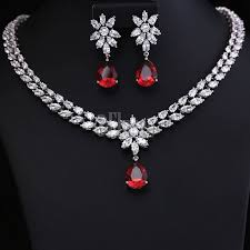 red necklace earrings set images Famous brand style luxurious very high quality zircon jewelry set jpg