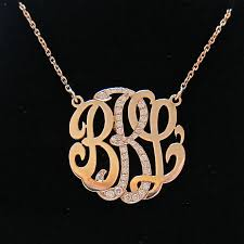 monogram necklaces gold mini 14k gold monogram necklace with diamond middle initial