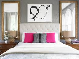 Modern White Headboard by Emily Followill Photography Bedrooms Gray Wallpaper Damask