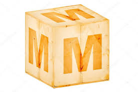 letter m on old box isolated on white u2014 stock photo