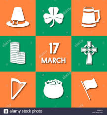 set of icons related to st patrick u0027s day modern flat design