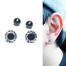 mens stud earrings stainless steel barbell black cartilage lip ear piercing mens