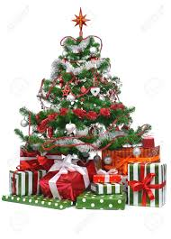 Decorated Christmas Tree Sale gifts under decorated christmas tree isolated on white background
