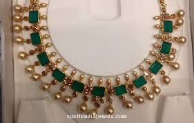 emerald pearl necklace images Gold emerald pearl necklace south india jewels jpg