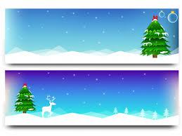 winter banners with tree reindeer snowfall