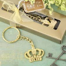 keychain favors gold crown keychain favors