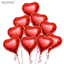 valentines ballons 10pcs heart foil helium balloons with ropes for valentines day