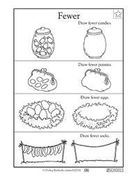 kindergarten math worksheets fewer candies greatschools