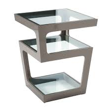 Grey Side Table Triple Level Gloss Side Table Stone Dwell