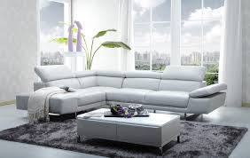 White Leather Sofa Set Living Room Charming White Leather L Shape Sectional Sofa