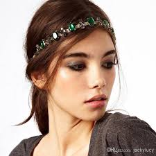 chain headband 2017 fashion bohemian women metal chain with emerald jewelry