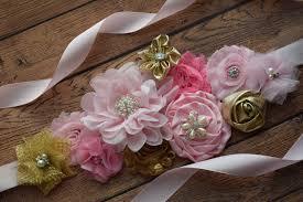 baby shower sash flower sash pink gold sash flower belt maternity sash flower