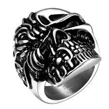 gothic rings men images Men 39 s skull bone gothic rings of punk terminator crossbones rings jpg