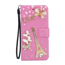 Eiffel Tower Accessories Wholesale Galaxy S6 Edge Crystal Flip Leather Wallet Case With