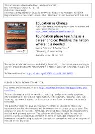 foundation phase teaching as a career choice building the nation