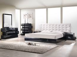 White Modern Platform Bed With Leather Headboard - White leather headboard bedroom sets