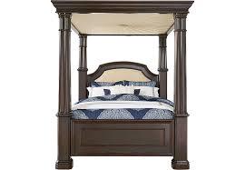 dumont cherry 5 pc queen canopy bed beds dark wood