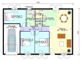 plan maison 3 chambres plain pied plan de masse de maison avec 3 chambres salon cuisine et salle à