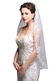 bridal veil george simple elegent lace appliques wedding veil one size