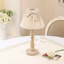 table lamp wooden cream shade country style