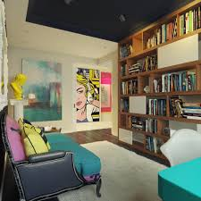 Modern Home Library Interior Design Pop Art Style Apartment Decorating Cacophony Of Color