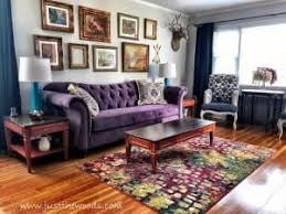 Living Room With Purple Sofa Living Room Makeover Room Reveal Bursting With Color
