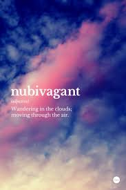 nubivagant wandering in the clouds moving through the air