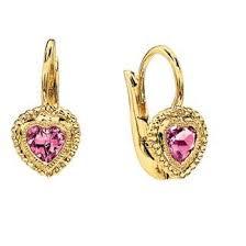 toddler earrings 14k gold bezel set pink heart lever back earrings for baby