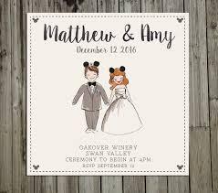 custom painted disney couple portrait wedding invitation