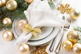 Xmas Table Decorations by Festive Christmas Table Setting Table Decorations In Gold Tones