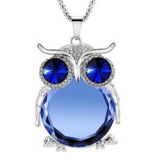 crystal owl necklace images Silver austrian crystal owl pendant chain gifts jpg