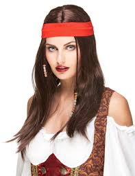 bandana hippie pirate or hippie wig with bandana for adults wigs and fancy dress