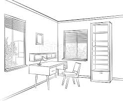 room interior sketch workplace home office furniture stock vector