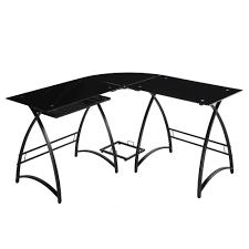 3 piece glass desk walker edison soreno 3 piece corner desk black with black glass