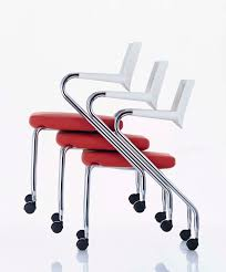 contemporary visitor chair on casters stackable with