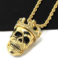skull pendant necklace images Mens gold iced cz king head skull pendant 24 quot rope chain hip hop jpg