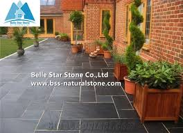Paving Stones Patio Black Riven Slate Tiles Charcoal Grey Split Face Stone Pavers