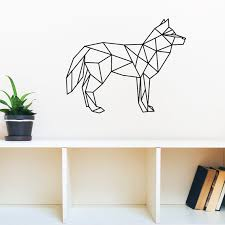 geometric figure wolf vinyl wall decal home decor living room diy